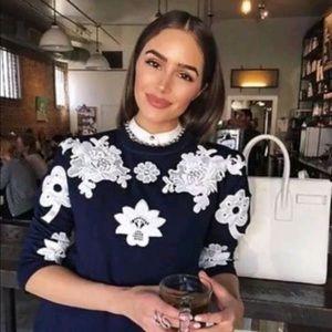 Victoria Beckham Floral Lace Appliqué Sweatshirt